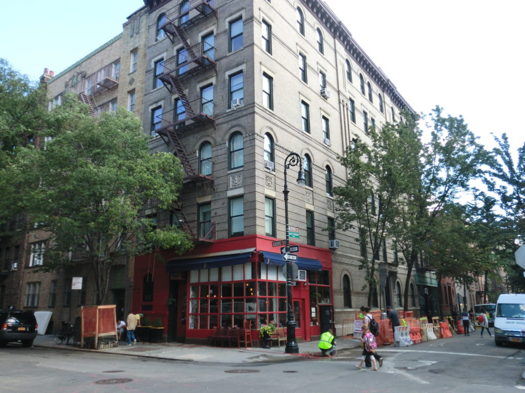 The building that is used as Friends Apartment in 90 Bedford Street, Greenwich Village